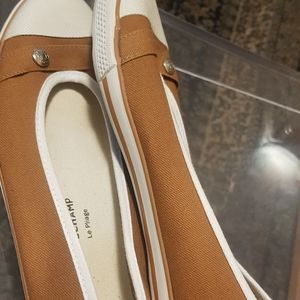 Longchamp Le Pliage Brown and Cream sneaker flats